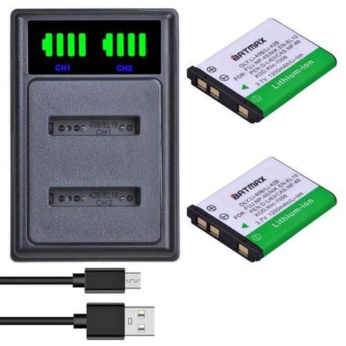 Chargeur Usb + Batteries Pour Olympus Li-40B U710 Fujifilm Np-45 A Nikon En-El10